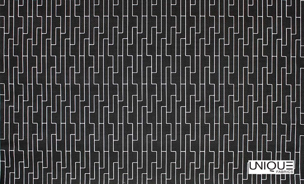 Unique Fabrics Outlines Labyrinth - Chalk    Upholstery Fabric - Black, Charcoal, Outdoor Use, Eclectic, Geometric, Standard Width