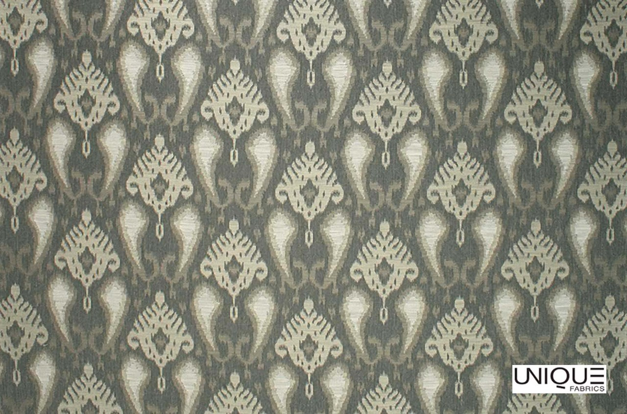 Unique Fabrics Bedouin Bedouin - Graphite  | Curtain & Upholstery fabric - Green, Traditional, Craftsman, Damask, Standard Width