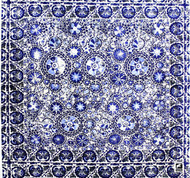Andrew Martin Clarendon Iznik - Charcoal  | Upholstery Fabric - Blue, Pink, Purple, Mediterranean, Suzani, Traditional, Craftsman, Medallion