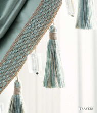 Travers Place Vendome Linen Tassle - 60036.397  | Fringe, Curtain & Upholstery Trim - Green, Traditional, Trimmings, Fringe, Fibre Blend