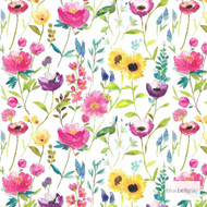 Bluebellgray Flower Field Wallpaper 2 Rolls - Multi  | Wallpaper, Wallcovering - Blue, Gold, Yellow, Pink, Purple, Floral, Garden, Botantical