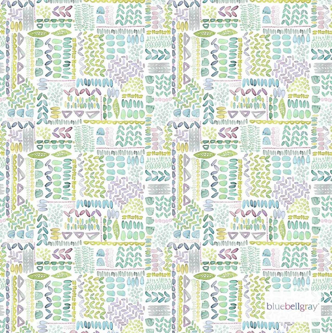 Bluebellgray Lola - Pastel  | Curtain & Upholstery fabric - Blue, Green, Pink, Purple, Patchwork, Dry Clean, Geometric, Decorative, Natural, Pattern