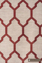 James Dunlop Isobars - Blaze  | Curtain & Upholstery fabric - Washable, Red, Mediterranean, Dry Clean, Geometric, Lattice, Trellis, Natural
