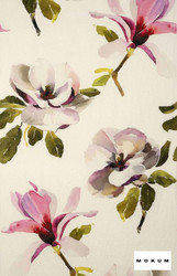 Mokum Magnolia - Magenta  | Curtain & Upholstery fabric - Deco, Decorative, Floral, Garden, Natural Fibre, Pink, Purple, Domestic Use, Dry Clean, Natural, Top of Bed
