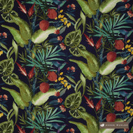 James Dunlop Pandora - Sapphire  | Curtain & Upholstery fabric - Washable, Black, Charcoal, Blue, Green, Floral, Garden, Botantical, Eclectic, Natural