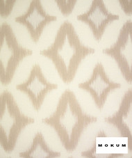 Mokum Atoll - Sand  | Curtain Sheer Fabric - Fire Retardant, White, Geometric, Ikat, Midcentury, Outdoor Use, Synthetic, Tan, Taupe, Transitional, Washable, Commercial Use