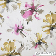 Charles Parsons Tropicana - Pink  | Curtain Fabric - Contemporary, Floral, Garden, Multi-Coloured, Pink, Purple, Synthetic, Uncoated, Washable, Domestic Use, Standard Width
