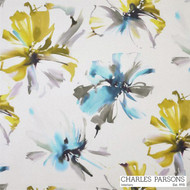 Charles Parsons Tropicana - Turquoise  | Curtain Fabric - Blue, Contemporary, Floral, Garden, Multi-Coloured, Synthetic, Uncoated, Washable, Domestic Use, Standard Width