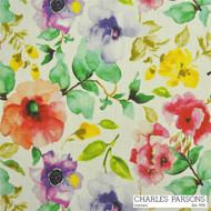 Charles Parsons Poppy - Watermelon  | Curtain & Upholstery fabric - Contemporary, Fibre Blends, Floral, Garden, Multi-Coloured, Uncoated, Commercial Use, Standard Width