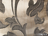Nettex Stately Leighton Sepia MG4  | Curtain Fabric - Brown, White, Damask, Fibre Blends, Floral, Garden, Traditional, Domestic Use, White, Standard Width, Rococo