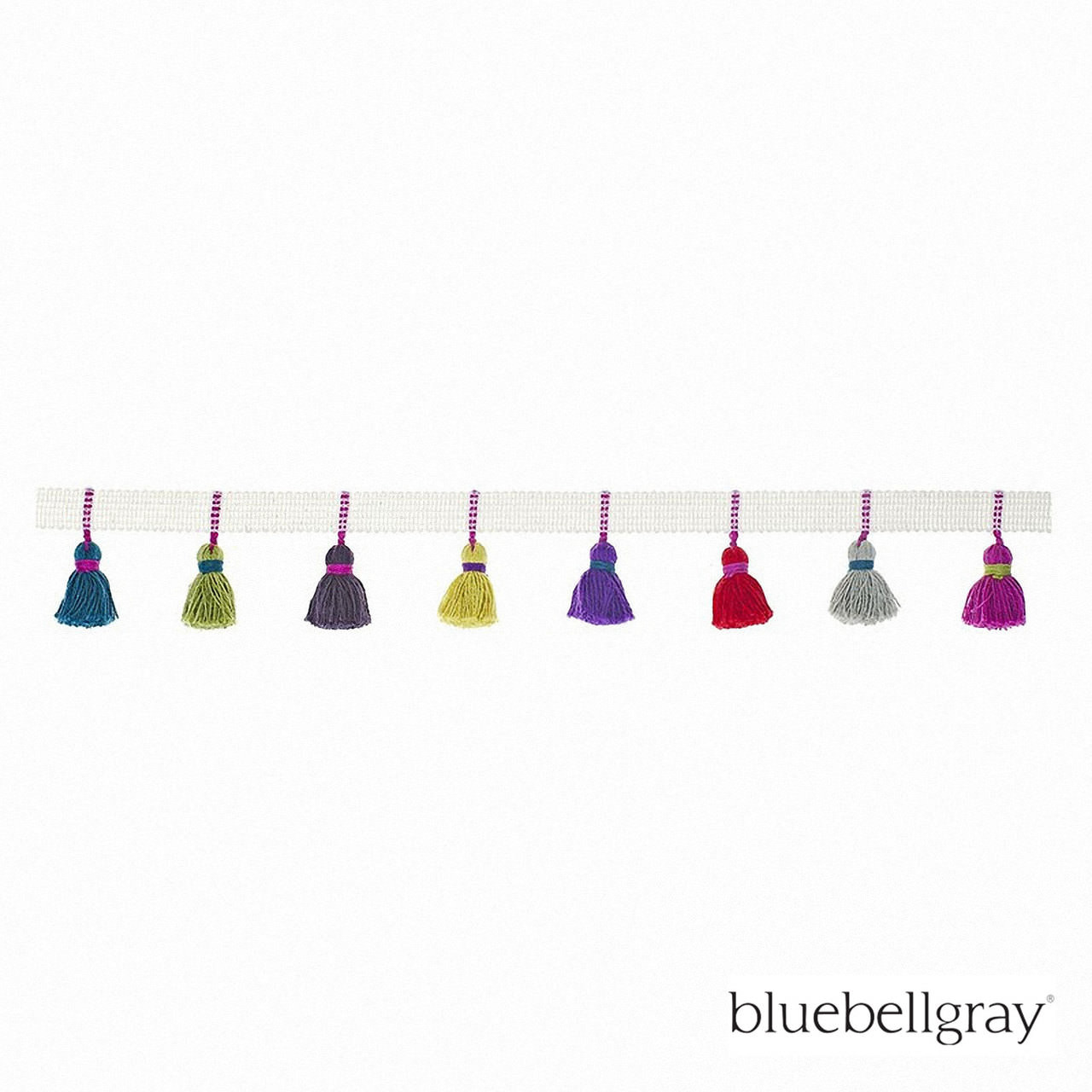 Bluebellgray Tassel Trim - Carnival  | Fringe, Curtain & Upholstery Trim - Blue, Red, Contemporary, Deco, Decorative, Natural Fibre, Pink, Purple, Domestic Use, Natural