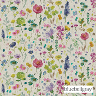 Bluebellgray Tetbury - Linen  | Curtain Fabric - Blue, Deco, Decorative, Farmhouse, Floral, Garden, Multi-Coloured, Natural Fibre, Pink, Purple, Stripe, Domestic Use