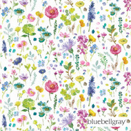 Bluebellgray Tetbury - Spring  | Curtain Fabric - Blue, Deco, Decorative, Farmhouse, Floral, Garden, Multi-Coloured, Natural Fibre, Pink, Purple, Domestic Use, Dry Clean