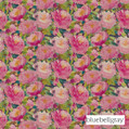 Bluebellgray Cait - Winter Peony    Curtain & Upholstery fabric - Blue, Contemporary, Floral, Garden, Multi-Coloured, Natural Fibre, Pink, Purple, Domestic Use, Dry Clean