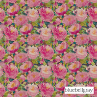 Bluebellgray Cait - Winter Peony  | Curtain & Upholstery fabric - Blue, Contemporary, Floral, Garden, Multi-Coloured, Natural Fibre, Pink, Purple, Domestic Use, Dry Clean