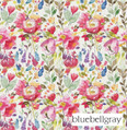 Bluebellgray Devon - Carmine  | Curtain & Upholstery fabric - Blue, Red, Contemporary, Floral, Garden, Multi-Coloured, Natural Fibre, Pink, Purple, Domestic Use, Dry Clean