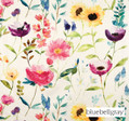 Bluebellgray Flower Field - Ecru    Curtain & Upholstery fabric - Blue, Contemporary, Floral, Garden, Multi-Coloured, Natural Fibre, Pink, Purple, Domestic Use, Dry Clean