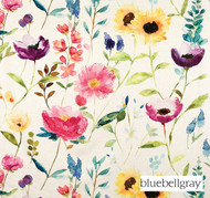 Bluebellgray Flower Field - Ecru  | Curtain & Upholstery fabric - Blue, Contemporary, Floral, Garden, Multi-Coloured, Natural Fibre, Pink, Purple, Domestic Use, Dry Clean