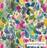 Bluebellgray Grande Mode - Meadow  | Curtain & Upholstery fabric - Blue, Contemporary, Floral, Garden, Multi-Coloured, Natural Fibre, Pink, Purple, Domestic Use, Dry Clean