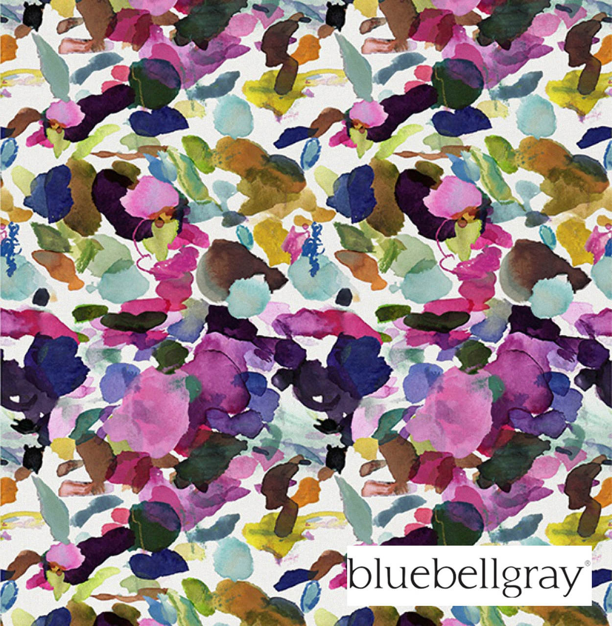 Bluebellgray James Summer - Summer  | Curtain & Upholstery fabric - Blue, Contemporary, Floral, Garden, Multi-Coloured, Natural Fibre, Pink, Purple, Domestic Use, Dry Clean