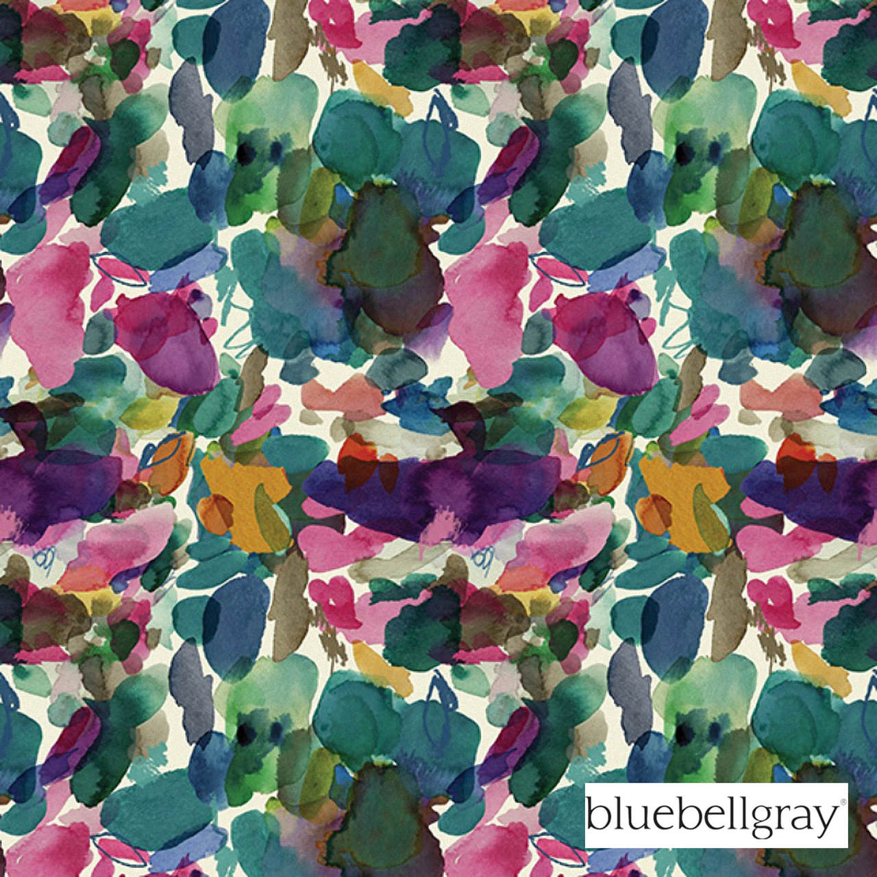 Bluebellgray Wee Archie Velvet - Jewel  | Curtain & Upholstery fabric - Blue, Contemporary, Deco, Decorative, Floral, Garden, Multi-Coloured, Natural Fibre, Pink, Purple