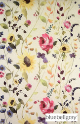 Bluebellgray Anya - Bouquet  | Curtain & Upholstery fabric - Blue, Gold,  Yellow, Contemporary, Floral, Garden, Multi-Coloured, Natural Fibre, Domestic Use, Dry Clean