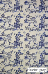 Bluebellgray Willow - Cobalt  | Curtain & Upholstery fabric - Blue, Asian, Deco, Decorative, Natural Fibre, Chinoise, Domestic Use, Dry Clean, Natural, Print, Top of Bed