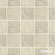 Baker Lifestyle - Templin - Pewter  | Curtain & Upholstery fabric - Beige, Contemporary, Transitional, Geometric, Embroidery, Check, Tile, Print