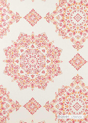 Baker Lifestyle - Parvani - Fuchsia  | Wallpaper, Wallcovering - Red, Geometric, Medallion, Traditional, Diamond - Harlequin