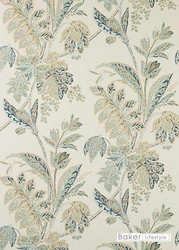 Baker Lifestyle - Ishana - Stone-Indigo  | Wallpaper, Wallcovering - Green, Floral, Garden, Botantical, Farmhouse, Paper Based