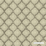Baker Lifestyle - Kashmira - Grey  | Curtain & Upholstery fabric - Mediterranean, Natural, Quatrefoil, Rococo, Print, Natural Fibre, Standard Width