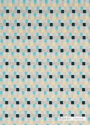 Baker Lifestyle - Skane - Aqua-Indigo-Linen  | Curtain & Upholstery fabric - Blue, Check, Farmhouse, Fibre Blends, Multi-Coloured, Midcentury, Small Scale, Standard Width