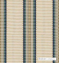 Baker Lifestyle - Sarala - Oatmeal-Indigo  | Upholstery Fabric - Beige, Blue, Fibre Blends, Multi-Coloured, Stripe, Traditional, Jacquards, Standard Width
