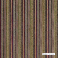 Baker Lifestyle - Santana - Multi  | Upholstery Fabric - Brown, Gold,  Yellow, Red, Contemporary, Stripe, Synthetic, Traditional, Standard Width