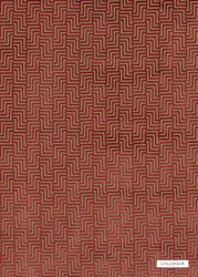 GPJ Baker - Harcourt - Cranberry  | Upholstery Fabric - Red, Contemporary, Fret, Greek Key, Geometric, Velvets, Small Scale, Standard Width