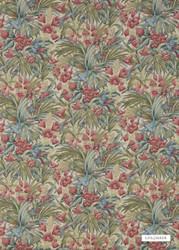 GPJ Baker - Trumpet Flowers - Teal-Rose    Curtain & Upholstery fabric - Blue, Red, Floral, Garden, Botantical, Traditional, Animals, Fauna, Birds