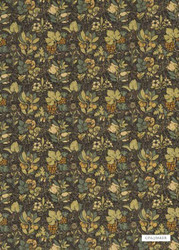 GPJ Baker - Meadow Fruit - Charcoal-Green  | Curtain & Upholstery fabric - Gold, Yellow, Floral, Garden, Botantical, Traditional, Craftsman