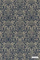 GPJ Baker - Fritillerie - Indigo  | Curtain & Upholstery fabric - Blue, Art Noveau, Damask, Synthetic, Traditional, Standard Width