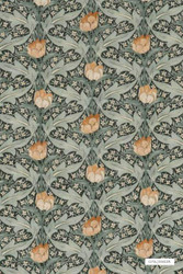 GPJ Baker - Tulip & Jasmine - Charcoal-Green  | Curtain & Upholstery fabric - Green, Floral, Garden, Botantical, Traditional, Art Nouveau, Craftsman
