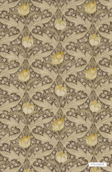 GPJ Baker - Tulip & Jasmine - Linen  | Curtain & Upholstery fabric - Brown, Craftsman, Floral, Garden, Synthetic, Traditional, Standard Width