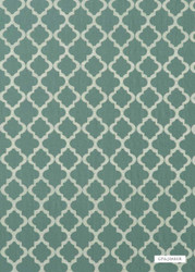 GPJ Baker - Cottesmore - Teal  | Curtain & Upholstery fabric - Green, Mediterranean, Embroidery, Lattice, Trellis, Quatrefoil, Small Scale