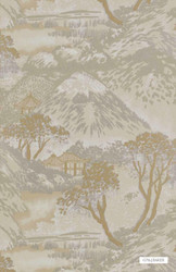 GPJ Baker - Edo - Stone-Bronze  | Upholstery Fabric - Beige, Brown, Asian, Chinoiserie, Chinoise, Toile, Paper Based