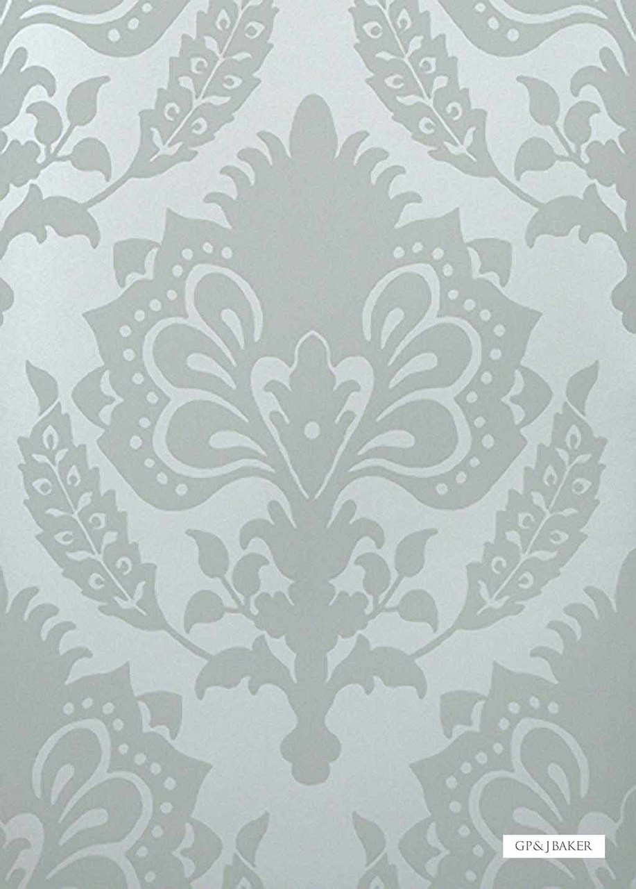 GPJ Baker - Malatesta Damask - Sea Glass  | Wallpaper, Wallcovering - Grey, Traditional, Craftsman, Damask, Rococo, Paper Based