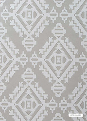 GPJ Baker - Navajo - Dove Grey  | Wallpaper, Wallcovering - Grey, Diamond, Harlequin, Mediterranean, Transitional, Kilim, Geometric, Paper Based