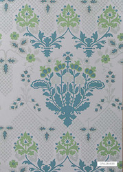 GPJ Baker - Drummond Damask - Sea Glass  | Wallpaper, Wallcovering - Green, Floral, Garden, Botantical, Art Nouveau, Craftsman, Paper Based