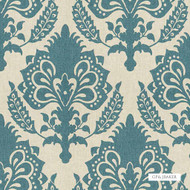 GPJ Baker - Malatesta - Teal  | Curtain & Upholstery fabric - Blue, Traditional, Damask, Natural, Rococo, Natural Fibre, Standard Width
