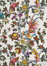 GPJ Baker - Pertelote - Original-Multi  | Curtain & Upholstery fabric - Gold,  Yellow, Farmhouse, Floral, Garden, Jacobean, Multi-Coloured, Natural Fibre, Traditional, Animals