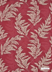 GPJ Baker - Meldon - Red-Oatmeal  | Curtain & Upholstery fabric - Red, Floral, Garden, Botantical, Traditional, Farmhouse, Natural, Natural Fibre