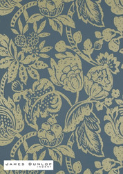 James Dunlop Indent - Batik Foil Wallpaper - Jewel  | Wallpaper, Wallcovering - Blue, Gold,  Yellow, Craftsman, Fibre Blends, Floral, Garden, Jacobean, Traditional
