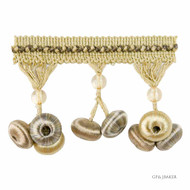 GPJ Baker - Button Drop Braid - Sand  | Fringe, Curtain & Upholstery Trim - Beige, Traditional, Silver, Trimmings, Fringe, Fibre Blend